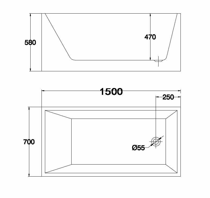 Rectangular Bath 1500 M710 spec