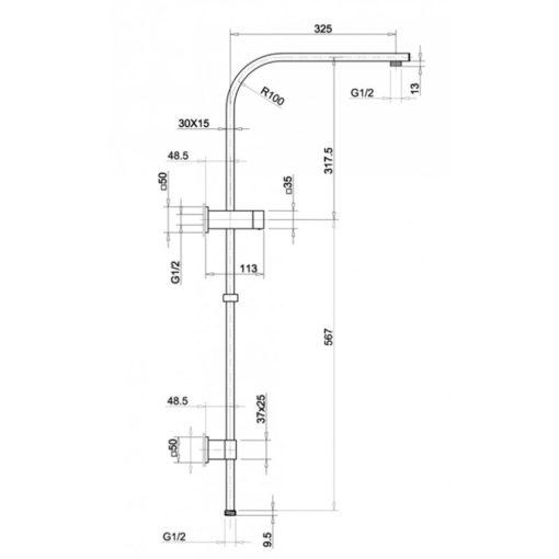 RS-3321-B Matt Black Rain Shower Specification Dimension