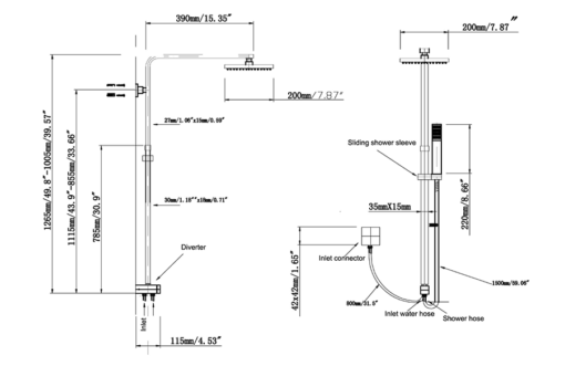 RS-3375-B Matt Black Rain Shower Set ZRJ Bathroom Kitchen Spec